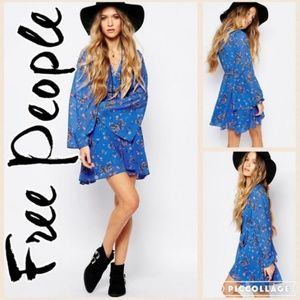 Free People Lilou Dress in Blue Floral